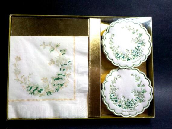 Napkin and Coaster Hostess Set, House Warming Gift, Hostess Gift, Floral Gold Trim Napkins, Scalloped Floral Coasters, Original Box, England