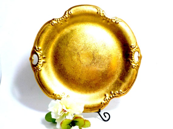 Cake Plate, Pickard Gold Cake Plate, Covered 24kt Gold, Pierced Handles, Embossed Daisy Roses, Scalloped Edges, Pickard 717, Cottage Chic