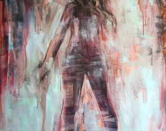 Canvas mounted fine art print - from original painting of nude female by Meredith O'Neal