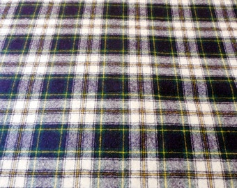 "Vintage 1980's Pendleton Tartan Plaid Fabric, 4 Yards by 62"", Blue, Yellow and White"