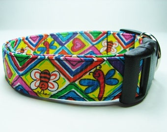 Charming Yellow Dog Collar with Bright Bumblebees, Dragonflies & Hearts
