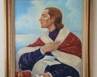 20C Large Oil on canvass religious Roman Catholic Orthodox Icon St. Casimir Signed Poland Lithuania