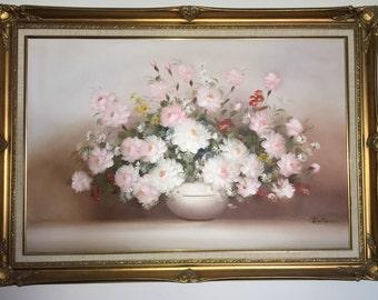 Vintage oil Painting on canvas Une fleur signed  Welliams still life
