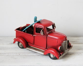 Vintage scarlet pick-up, retro style, collectible truck miniature with surfboard and life saver, red truck miniature with blue surfboard