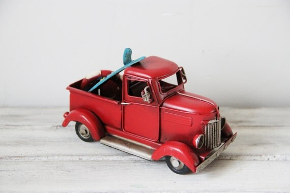 Vintage scarlet  pick-up truck, retro style, collectible truck miniature with surfboard and life saver, red truck miniature, mid nineties