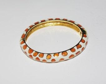 Vintage Kenneth Jay Lane Hinged Bangle Bracelet  Orange and White - S1344