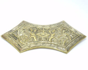Large Figural Ornate Repousse Chinese Brooch