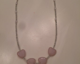 Glass heart beaded necklace