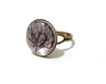 Willow Tree Ring, Tree Ring, Glass Dome Ring, Adjustable Ring, Nature Ring, Woodland Ring, Print Ring, Photo Ring, Index Finger Ring