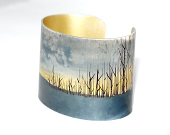 Edge of the woods hand drawn cuff