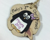 Baby's First Christmas Ornament, hand painted wood slice ornament, personalized penguin ornament