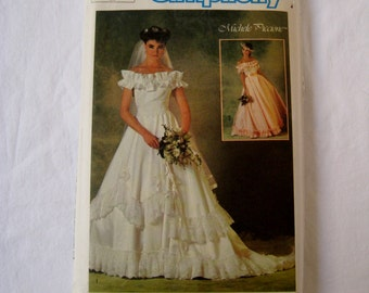 Vintage Simplicity Sewing Pattern 6766 Southern Wedding Bridal Bride Dress Gown Ruffle 1980's Fashion Size 10 UNCUT