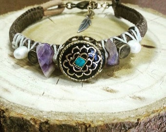 Woven textile bracelet with gemstones and tibetan bead.  festival accessories Boho jewelry, Tribal jewelry, Charm jewelry, charm bracelet.