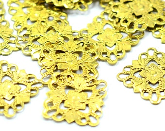 50 Pcs Raw Brass Filigree 15 x 15 mm Square Findings , Connectors ,Brass Findings