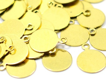 150 Pieces Raw Brass  10 mm Blanks Stamping Tag Findings