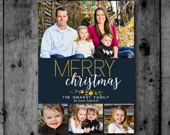4 photo Gold Foil  Photo Christmas Card Printable Invitation