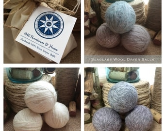 Three Handmade Triple Felted 100% Wool Dryer Balls
