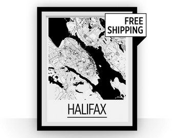 Halifax Map Poster - nova scotia Map Print - Art Deco Series