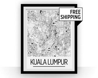 Kuala Lumpur Map Poster - malaysia Map Print - Art Deco Series