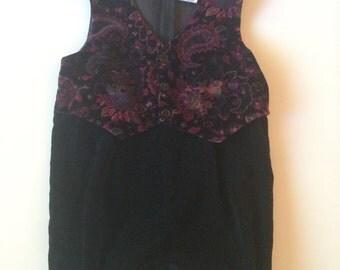 Vintage Black Velvet Romper with Autumn Floral Vest