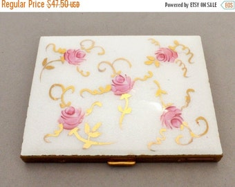 White Guilloche Enamel Pink Cabbage Rose Gold Ribbons Cigarette Case