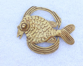 Vintage Alva Studios Museum Reproduction Stylized Fish Brooch