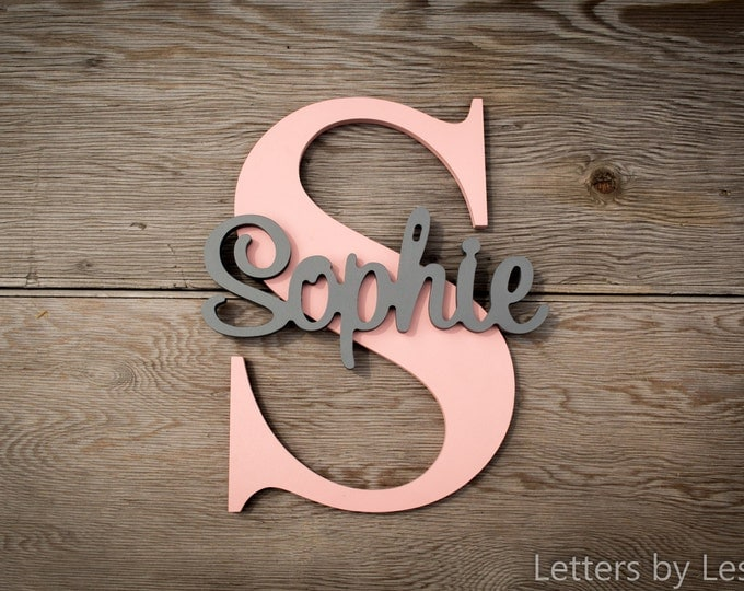 Personalized Nursery Decor, Name on Letter, Wood name on Large Letter