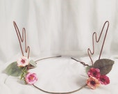 Woodland Pink and Peach Rose Flower & Pansy Deer Antlers Hair Wreath Festival Crown Head Band Dress up Deer