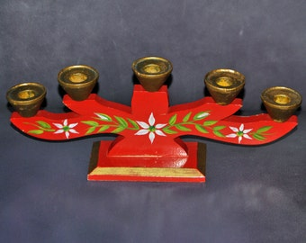 Vintage Red Wooden 5 Place Candelabra made in Sweden Hand Painted Flowers and Leaves