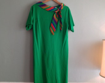 60s Bold sz Lrg Shift Dress Striped Neck Tie