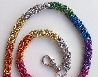 Chainmail walletchain, byzantine handmade rainbow chain mail wallet chain jewelry, bright anodized aluminum jewelry made by misome