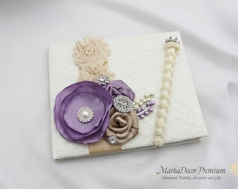 Wedding Lace Guest Book and a Pen Custom Bridal Flower Brooch Guest Books in Ivory, Champagne, Lavender