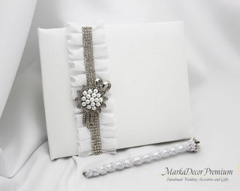 Sale! READY TO SHIP Wedding Lace Guest Book and a Pen Set Custom Bridal Flower Brooch Guest Books Birthday Book in White