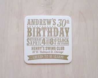 Birthday Party Letterpress Coasters