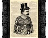 Tattooed Victorian Gentleman TATTOO ART PRINT Tattoo Print, Tattoo Poster, Tattoo Wall Art, Tattoo Wedding Favor 492