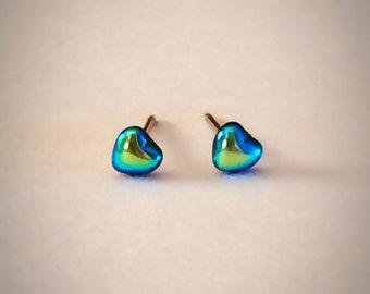 Tiny Heart Vintage Glass Stud Earrings
