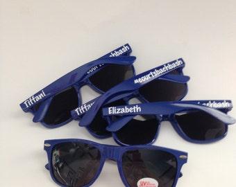 Bachelorette Personalized Wayfarer Sunglasses, Royal Blue, Bridesmaid, Groomsman, Bridal, Party Favors