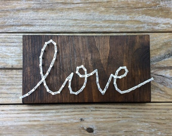 Love Handmade Rustic Wood String and Nail Art Sign