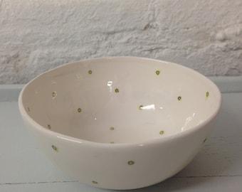 Handmade spotty ceramic bowl, lime green spots
