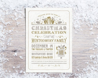 Printable Christmas Invitations, Holiday Party Invitation, Silver & Gold Invite, Typography Invitation