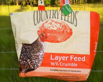 Upcycled Feedbag Tote. Poultry  Chicken Layer Feed Handmade in Kalispell, Montana USA. FREE USA Shipping