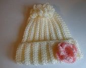 Baby Hat With Rose Trim