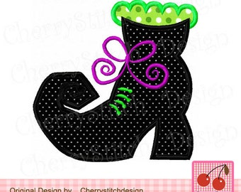 Halloween Witch's boot Machine Embroidery Applique Design HL0015- 4x4 5x5 6x6""