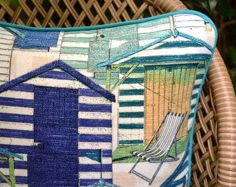 Beach Houses . Coastal Cushion . Hamptons Pillows . Outdoor Pillows . Blues . Sea Theme Pillows . Beach Hut Pillows . Cushion Covers