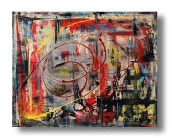 "Large Abstract painting 30""x24""x1.25"" mixed media on Gallery wood ""Title 23"" by K. Davies"