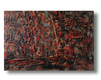 """Abstract painting 36""""x24""""x1.75"""" acrylic on Gallery canvas """"prat75"""" by K. Davies"""