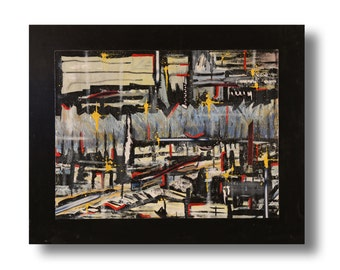 """Abstract original painting 30""""x24""""x""""1.25"""" mixed on canvas board & wood """"City12"""" by K. Davies"""