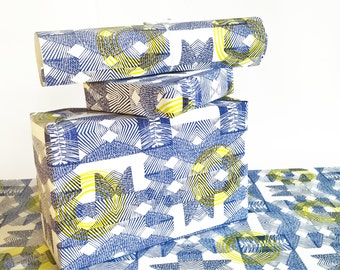 gift wrapping printed paper roll abstract blue yellow BLUE GEO 24x33 inch A1 size - set of 3