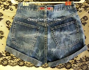 Vintage Silver High Waisted Shorts Women 27 Waist