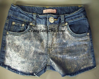 Trendy Silver Glitter Shorts Teen Girls size 14 slim